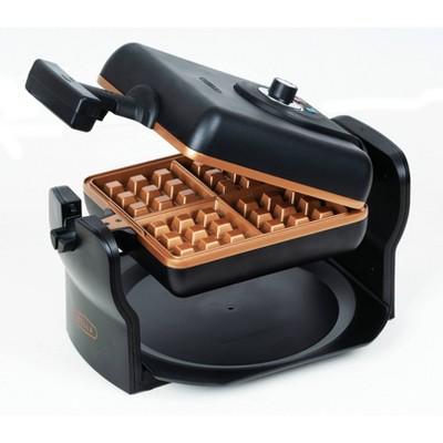 "Bella 7"" Square Rotating Waffle Maker - Black/Copper"