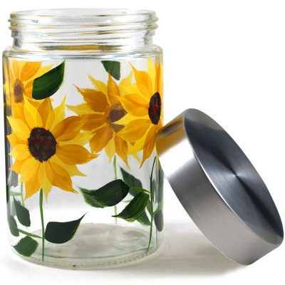 Grant Howard GH-39515 42 Ounce Hand Painted Elegant Sunflower Design Glass Storage Jar with Airtight Lid for Coffee, Spices, Sugar, and Other Dry Food
