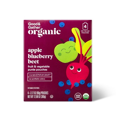Organic Applesauce Pouches - Apple Blueberry Beet- 4ct - Good & Gather™