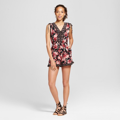 8f703a265f37b Women s Mixed Print Ruffle Romper - Xhilaration™ (Juniors ) Black XL ...