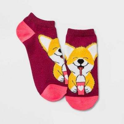 Women's Fuzzy Corgi Low Cut Socks - Xhilaration™ Maroon 4-10