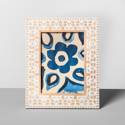 "5"" x 7"" Carved Wood Frame White - Opalhouse™"