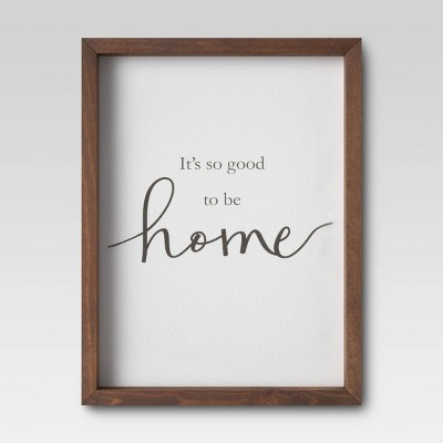 "11"" X 17"" It's Good To Be Home Framed Wall Print  Threshold™ by Threshold"