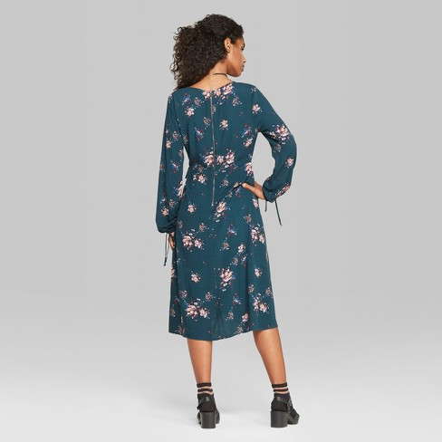 7e432b12cf1 Women s Floral Print Long Sleeve Wrap Midi Dress - Wild Fable™ Teal. Shop  all Wild Fable