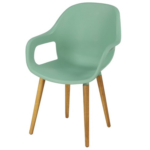 Modern Plastic and Wood Dining Chair - Green - Olivia & May - image 1 of 3