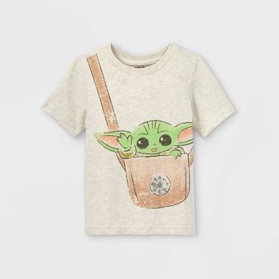 Toddler Boys' Baby Yoda Short Sleeve Graphic T-Shirt - Cream
