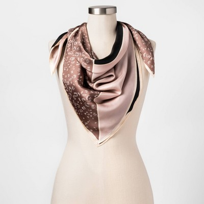 Women's Leopard Print Silk Square Scarf - A New Day™ Tan One Size