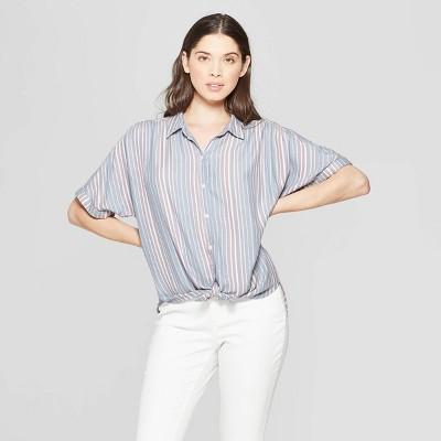 Women's Striped Short Sleeve Collared Camp Shirt - Universal Thread™ Blue L
