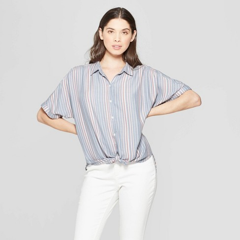 58466dedf Women's Striped Short Sleeve Collared Camp Shirt - Universal Thread™ Blue