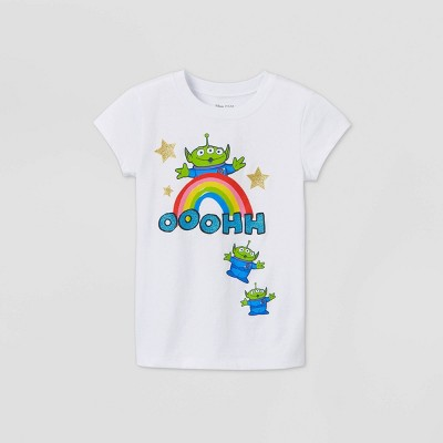 Girls' Short Sleeve Disney Rainbow Pixar Alien Graphic T-Shirt