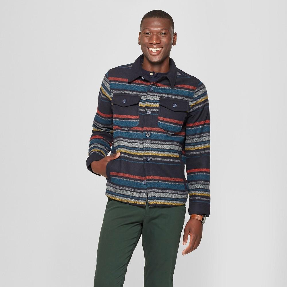 Men's Long Sleeve Striped Wool Blend Shirt Jacket - Goodfellow & Co Xavier Navy S, Blue