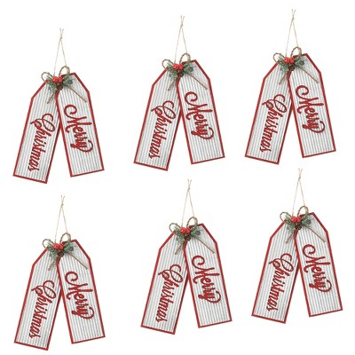 """Sullivans Set of 6 Merry Christmas Ornament Kit 10.5""""H Red and White"""