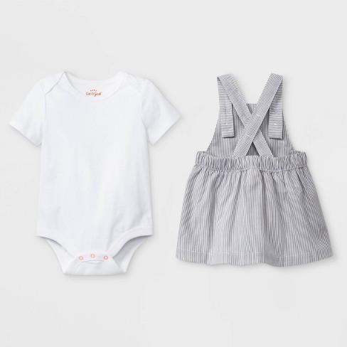 9e0604cc5872 Baby Girls  Short Sleeve Lap Shoulder Bodysuit And Patch Pocket Skirtall -  Cat   Jack™ Gray Newborn   Target