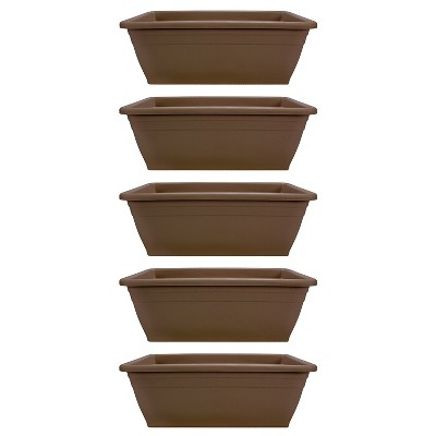 HC Companies 12-Inch Outdoor Plastic Deck Flower Planter Box, Chocolate (5 Pack)