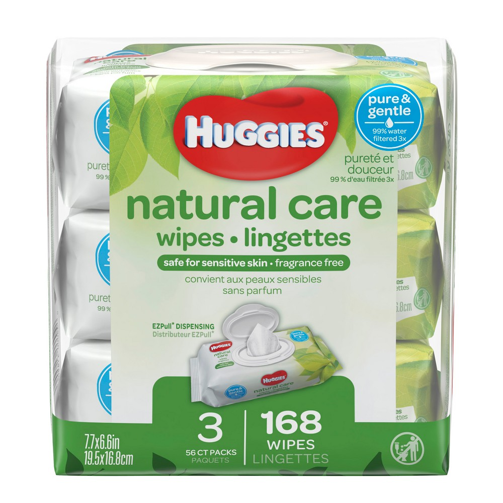 Huggies Natural Care 3pk Baby Wipes Unscented - 168ct Care for your baby's delicate skin from the very start with Huggies Natural Care Baby Wipes. Safe for sensitive skin, Natural Care Wipes contain 99 percent triple-filtered water for a pure, gentle clean. Plus, they are pH-balanced to help maintain your newborn's natural skin barrier and enriched with aloe and vitamin E to help keep skin healthy and conditioned. The #1 branded wipe*, Huggies Wipes are dermatologically tested and hypo-allergenic. In addition, Natural Care sensitive wipes are fragrance-free, alcohol-free and paraben-free, and they contain no phenoxyethanol or Mit.