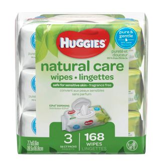 Huggies Natural Care 3pk Baby Wipes Unscented - 168ct