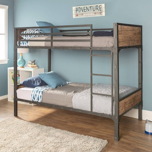 Twin Over Twin Rustic Wood Bunk Bed Brown Saracina Home Target