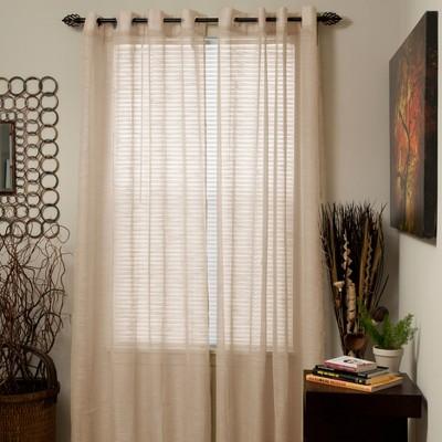 Yorkshire Home Mia Jacquard Grommet Curtain Panel - Beige (54 x84 )