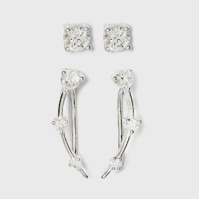 Sterling Silver Cubic Zirconia Ear Crawler Set 2pc - A New Day™ Silver
