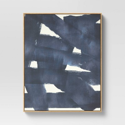 "24"" x 30"" Abstract Framed Wall Canvas Dark Navy/Cream - Project 62™"