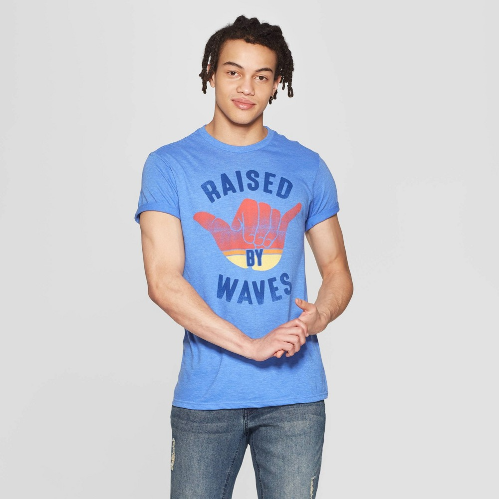 Men's Short Sleeve Crewneck Raised By Waves Graphic T-Shirt - Awake Blue Xxl