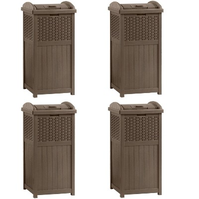 Suncast Trash Hideaway 33 Gallon Resin Wicker Outdoor Garbage Container (4 Pack)