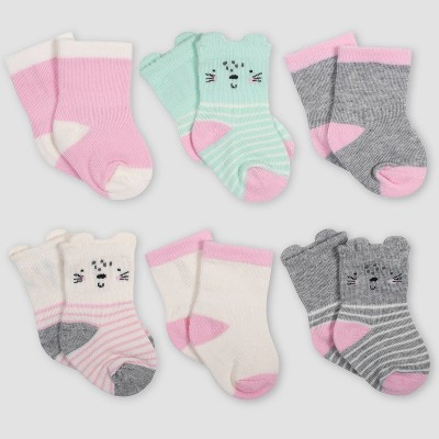 Gerber Baby Girls' 6pk Bunny Wiggle Proof Crew Socks - Green/Pink/Gray 0-6M