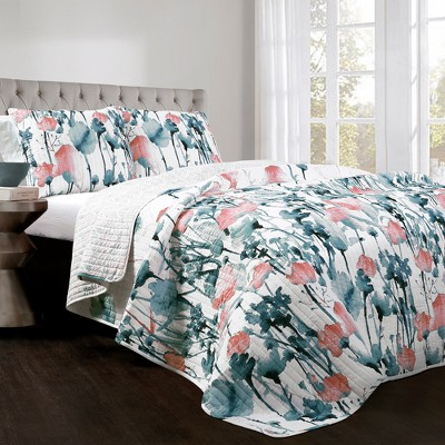 Blue & Coral Zuri Flora Quilt Set (King)- Lush Decor