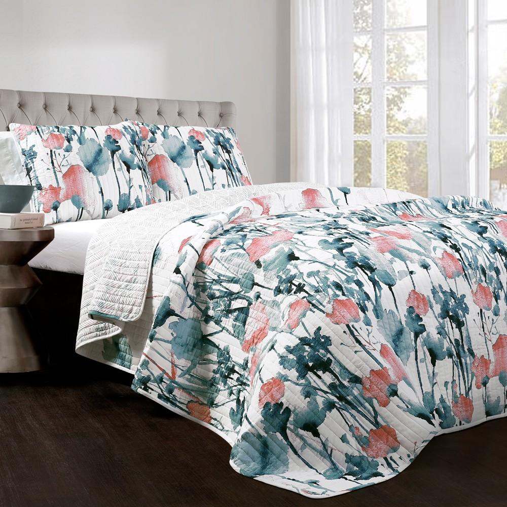 Blue & Coral Zuri Flora Quilt Set (King) - Lush Decor