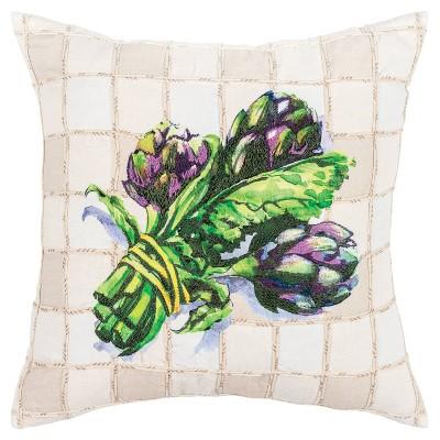 "20""x20"" Square Artichoke Print Throw Pillow Cover Purple - Rizzy Home"