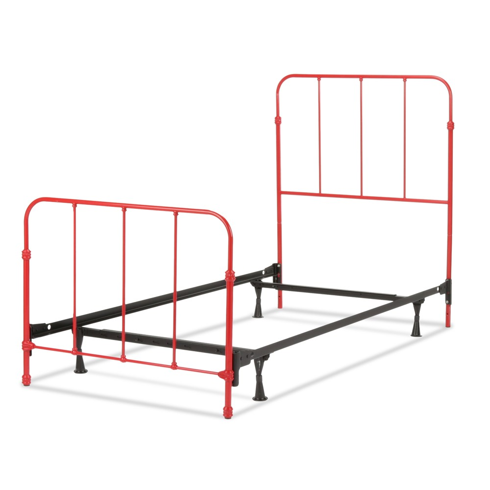Nolan Complete Kids Bed with Metal Duo Panels - Candy Red - Twin - Fashion Bed Group