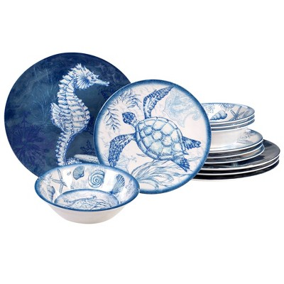 12pc Melamine Oceanic Dinnerware Set Blue - Certified International