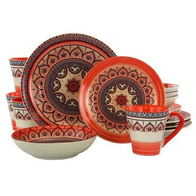 16pc Stoneware Citrus Kaleidoscope Dinnerware Set Orange - Elama