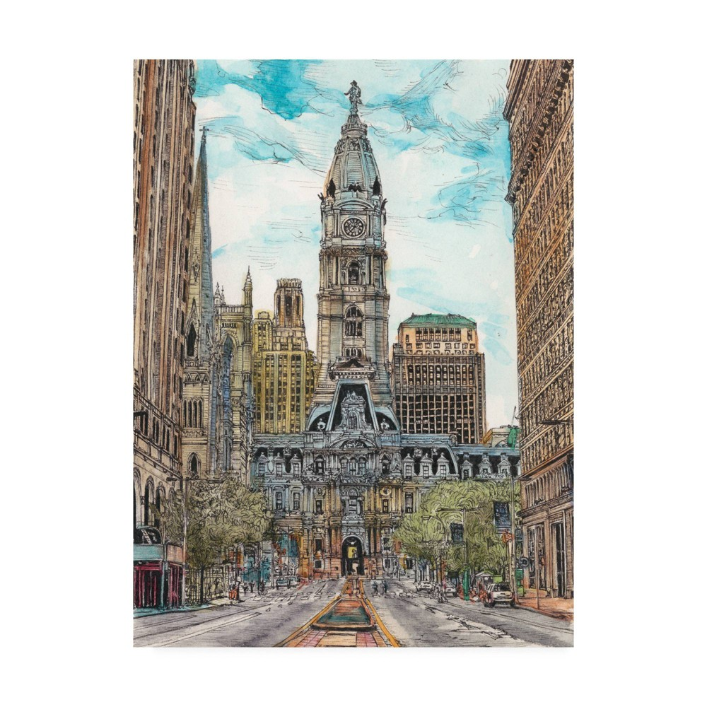14 34 X 19 34 Us Cityscape Philadelphia By Melissa Wang Trademark Fine Art