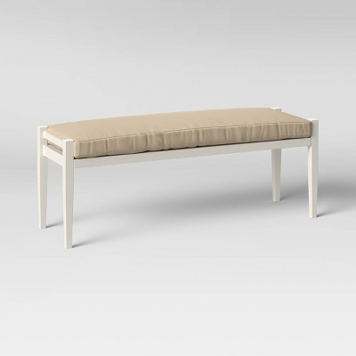 Fairmont Metal Patio Dining Bench - White/Tan - Threshold™
