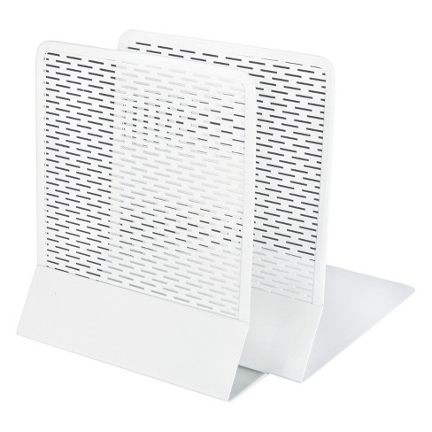 Artistic Urban Collection Punched Metal Bookends, 6 1/2 x 6 1/2 x 5 1/2, White - image 1 of 1