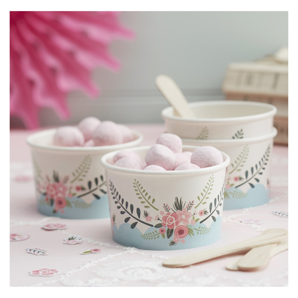 8ct Floral Fancy Ice Cream Tubs With Spoons