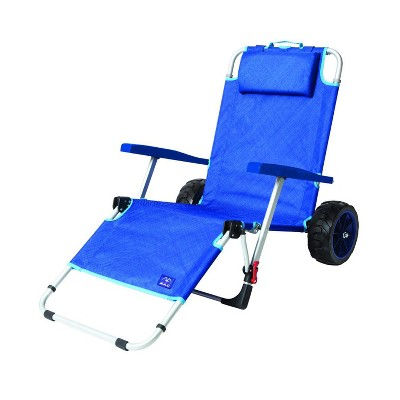 Mac Sport 2-in-1 Outdoor Portable Beach Folding Lounger Chair and Wagon Pull Cart Basket with Locks and Wheels for the Beach and Camping, Blue
