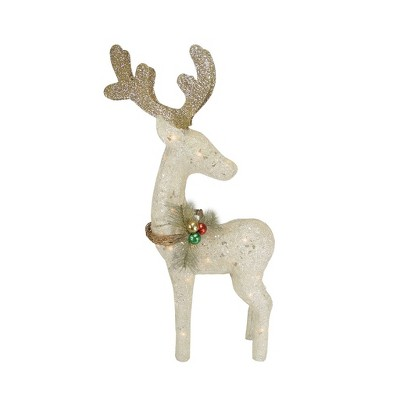 "Northlight 37"" White and Brown Standing Reindeer Outdoor Christmas Yard Decor"