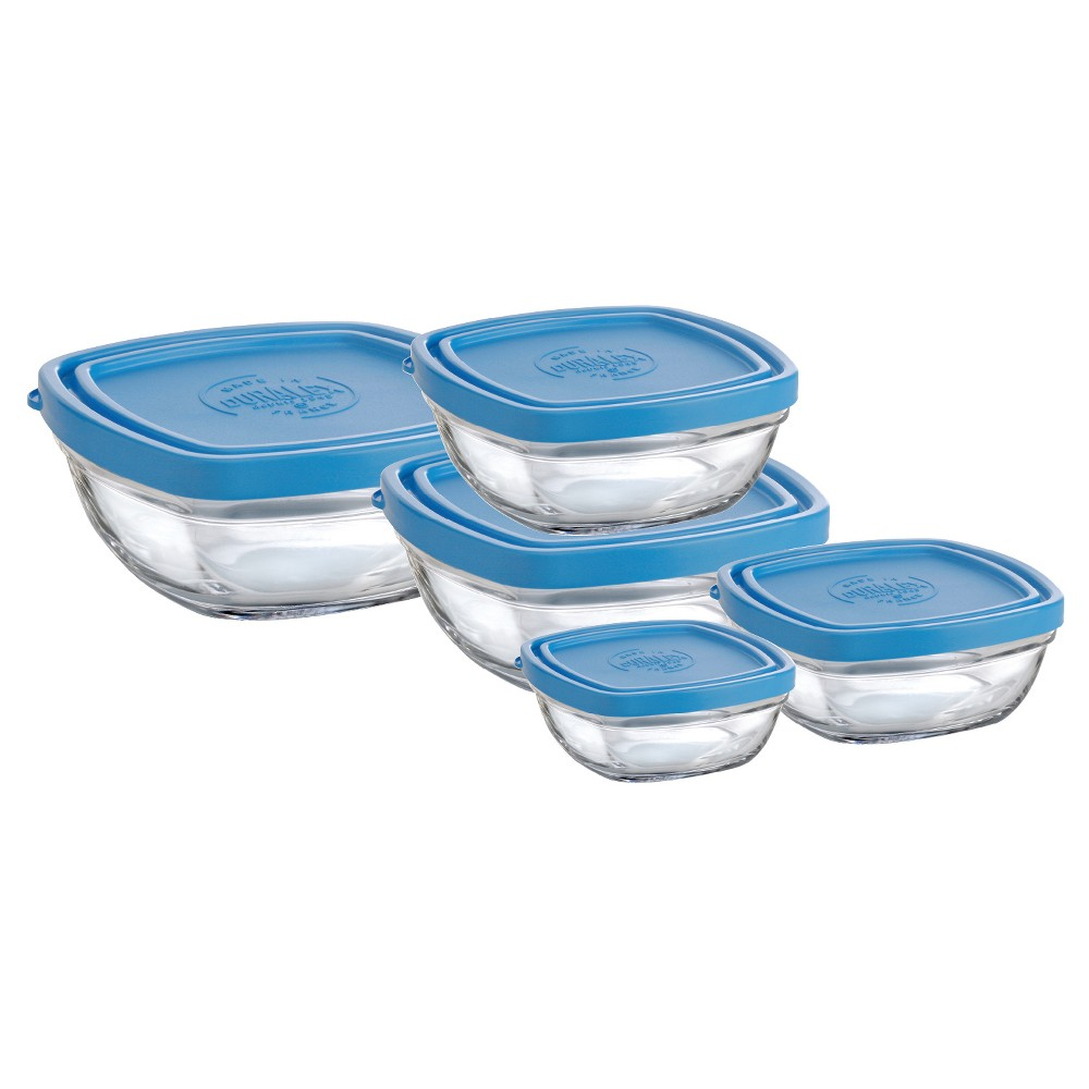 Image of Duralex - Set of Square Bowls 5 pc set - Clear