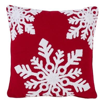 Snowflake Square Throw Pillow Red - Saro Lifestyle