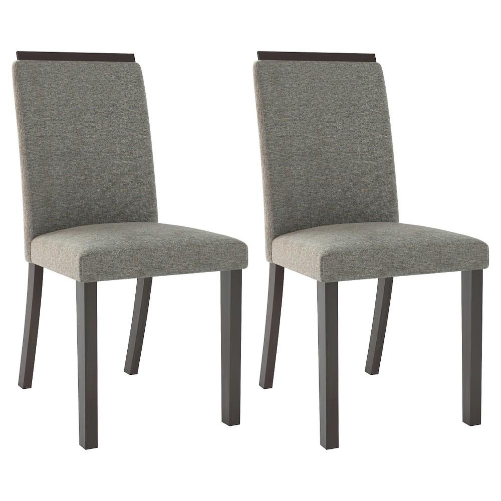 Bistro Upholstered Dining Chair Wood/Pewter Gray (Set of 2) - CorLiving