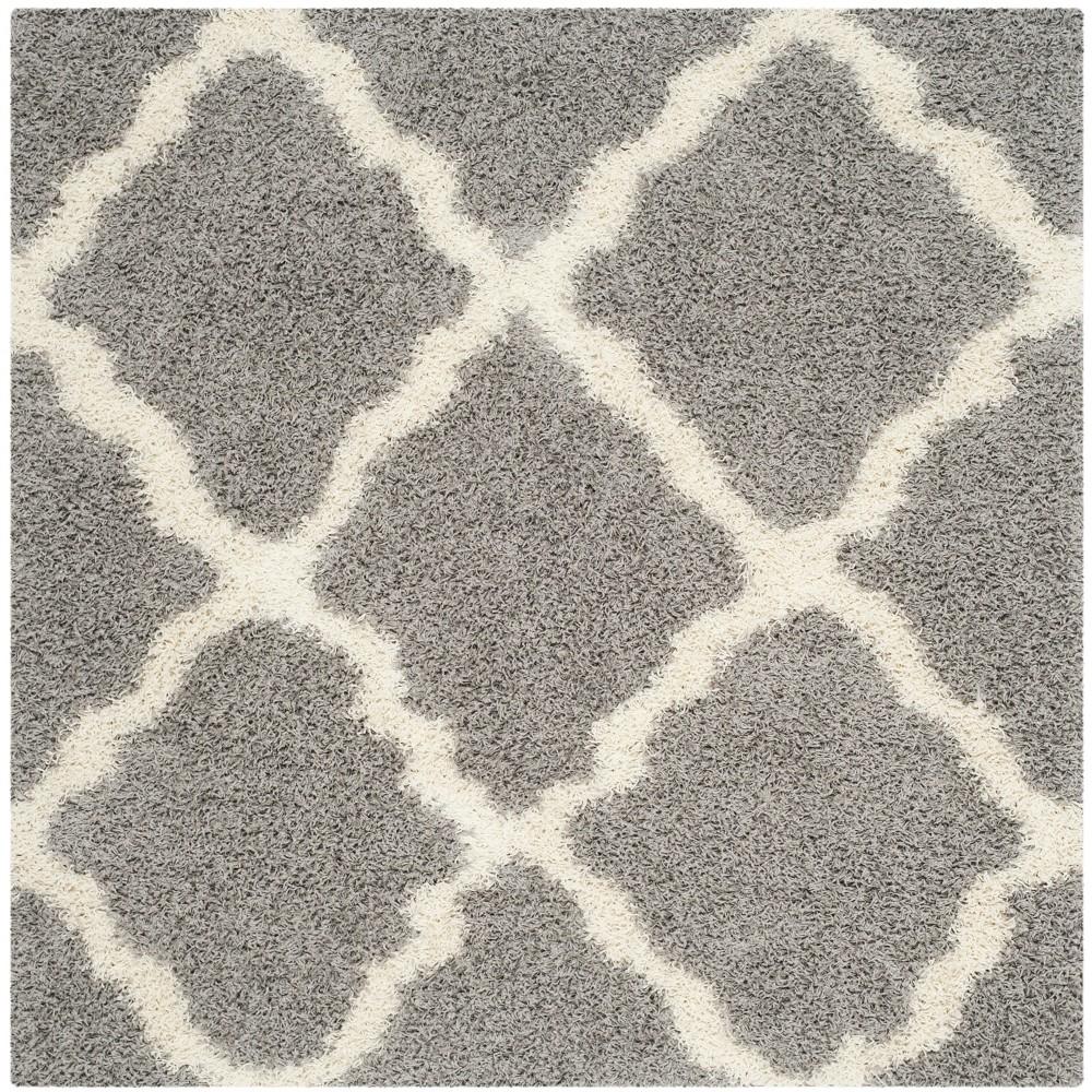 6'X6' Quatrefoil Design Loomed Square Area Rug Gray/Ivory - Safavieh