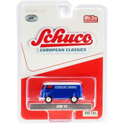 """Volkswagen T1 Panel Bus """"Porsche Diesel"""" Blue with White Top """"European Classics"""" Series Limited Edition to 3,600 pieces 1/64 Diecast Model by Schuco"""