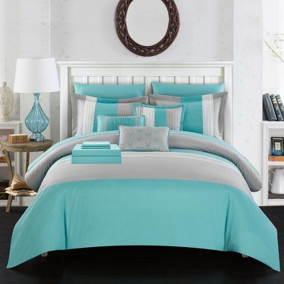 Chic Home Moriarty Elegant Color Block Ruffled Decorative Pillows & Shams - Turquoise