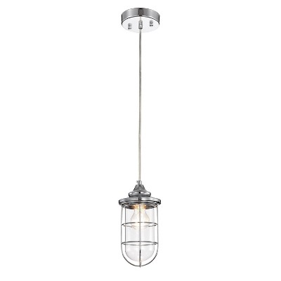 "5"" x 5"" x 43"" Tiago Glass Shade Pendant Lamp Silver - Warehouse Of Tiffany"