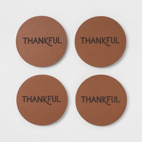 "4"" 4pk Nylon Thankful Coasters Brown - Threshold™ - image 1 of 1"