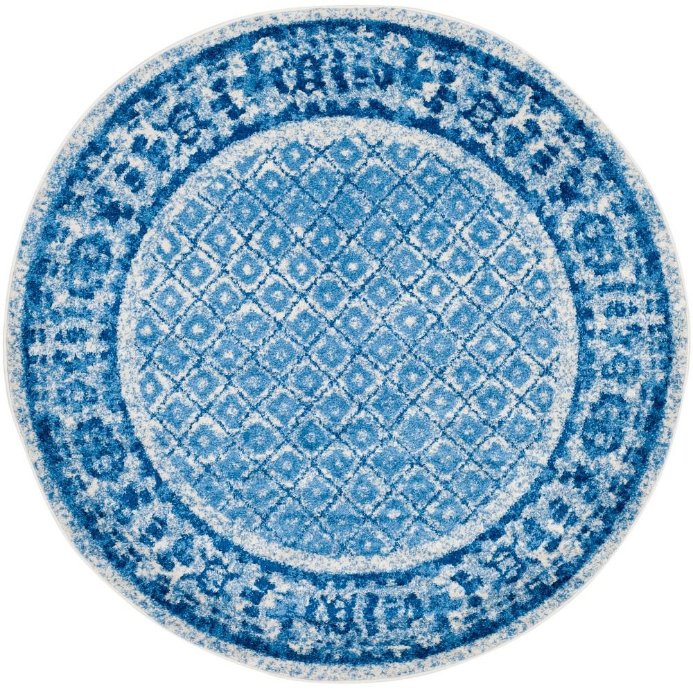 8' Diamond Round Area Rug Silver/Blue - Safavieh