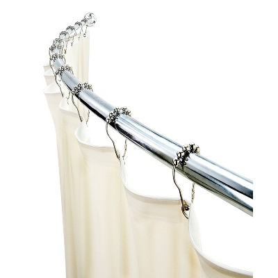 Curved Wall Mountable Shower Rod Chrome - Bath Bliss