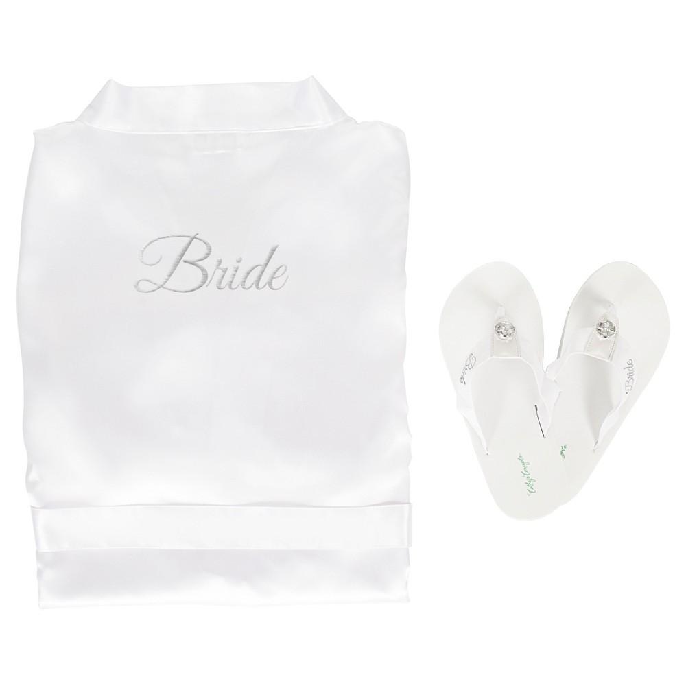 White Satin Bride Robe with Flip Flops with Silver Thread - Medium/Medium